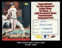 1994 Classic #AU1 Game 1209