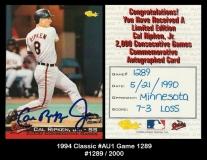 1994 Classic #AU1 Game 1289