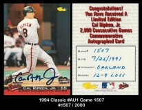 1994 Classic #AU1 Game 1507
