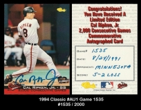1994 Classic #AU1 Game 1535