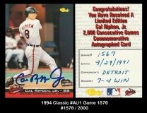 1994 Classic #AU1 Game 1576