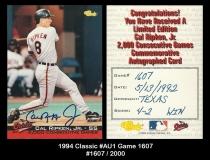 1994 Classic #AU1 Game 1607