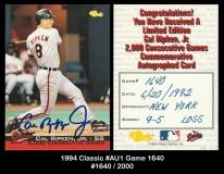 1994 Classic #AU1 Game 1640