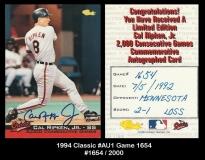 1994 Classic #AU1 Game 1654