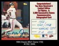 1994 Classic #AU1 Game 1752