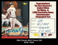 1994 Classic #AU1 Game 249
