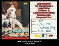 1994 Classic #AU1 Game 287