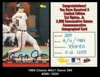 1994 Classic #AU1 Game 389