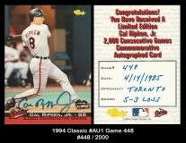 1994 Classic #AU1 Game 448