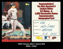 1994 Classic #AU1 Game 600