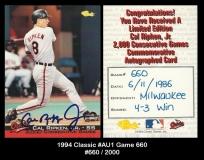 1994 Classic #AU1 Game 660
