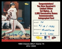 1994 Classic #AU1 Game 74