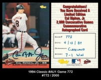 1994 Classic #AU1 Game 772