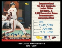 1994 Classic #AU1 Game 813