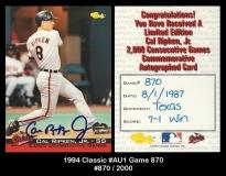 1994 Classic #AU1 Game 870
