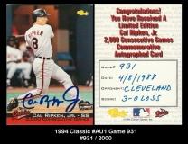 1994 Classic #AU1 Game 931