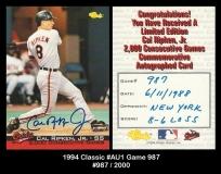 1994 Classic #AU1 Game 987