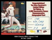 1994 Classic #Au1 Game 1740