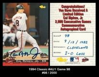 1994 Classic #Au1 Game 98