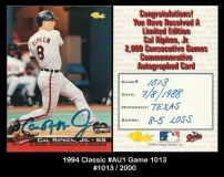 1994 Classic #AU1 Game 1013