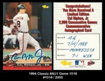 1994 Classic #AU1 Game 1016