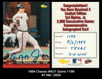 1994 Classic #AU1 Game 1198