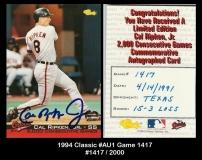 1994 Classic #AU1 Game 1417