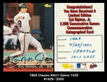 1994 Classic #AU1 Game 1429