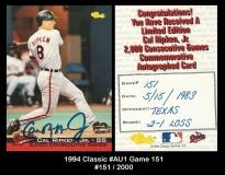 1994 Classic #AU1 Game 151