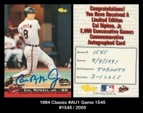 1994 Classic #AU1 Game 1545