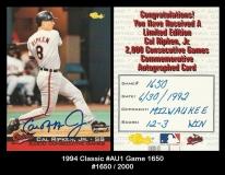 1994 Classic #AU1 Game 1650