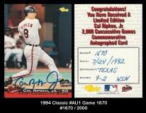 1994 Classic #AU1 Game 1670