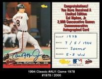1994 Classic #AU1 Game 1978