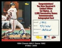 1994 Classic #AU1 Game 1982