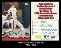 1994 Classic #AU1 Game 492