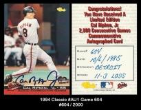 1994 Classic #AU1 Game 604
