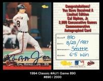 1994 Classic #AU1 Game 890