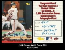1994 Classic #AU1 Game 925