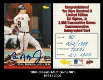1994 Classic #AU1 Game 961