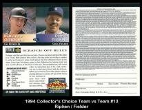 1994 Collectors Choice Team vs Team #13