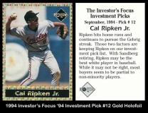 1994 Investors Focus '94 Investment Pick #12 Gold Holofoil