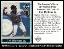 1994 Investors Focus '94 Investment Pick #12 Silver Holofoil