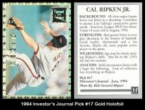 1994 Investors Journal Pick #17 Gold Holofoil