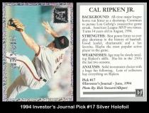 1994 Investors Journal Pick #17 Silver Holofoil