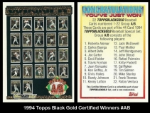 1994 Topps Black Gold Certified Winners #AB