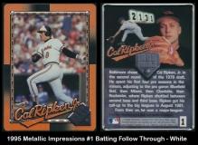 1995 Metallic Impressions #1 Batting Follow Through - White