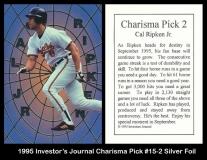 1995 Investors Journal Charisma Pick #15-2 Silver Foil
