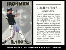 1995 Investors Journal Headline Pick #15-1 Gold Foil