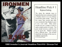 1995 Investors Journal Headline Pick #16-1 Bronze Foil