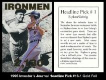 1995 Investors Journal Headline Pick #16-1 Gold Foil